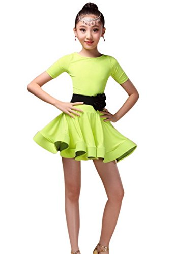 Child Girls Cute Princess School Dance Dress Dancing Practice Training Outfit for Latin Tango Skating for 6-7Y (2)