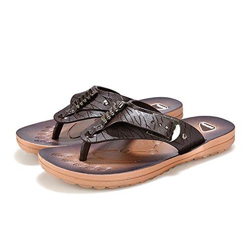 Calzado Sandalia Playa Zapatos Zapatillas Planos De ALIKEEYHombres Diapositivas Marrón Flop Summer Flip Zapatos De Suave La pqTz6w6x