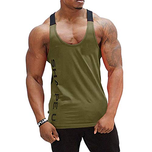 POQOQ Tee Shirt Bodybuilding Sport Fitness Vest Men's Sleeveless Tank Top M Army Green