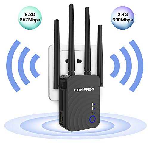 1200 Mbps WiFi Range Extender 2.4 GHz and 5.8 GHz Dual Band Repeater 360° WiFi Signal Extender and Booster with Four High Gain Antennas and Multiple Thermal Design, Three-Step -