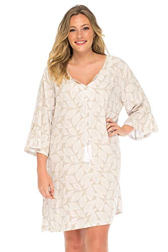 s Boho Print Beach Dress Plus Size Loose Fit Tunic Top Swimsuit Cover Up Casual Bohemian Mocca White 2X ()