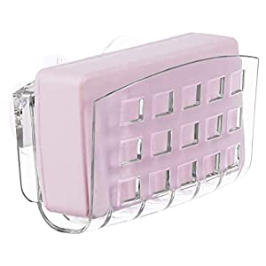 iDesign BPA-Free Plastic Kitchen Sink Suction Sponge Holder – 2.3″ x 5.2″ x 3.7″, Clear