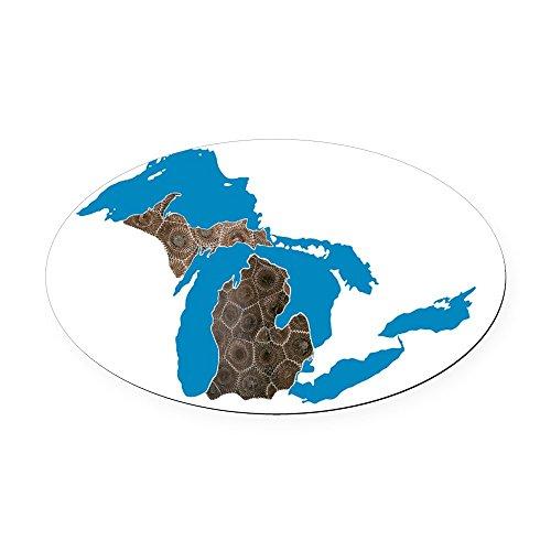 CafePress - Great Lakes Michigan Petoskey Stone Oval Car Magne - Oval Car Magnet, Euro Oval Magnetic Bumper Sticker