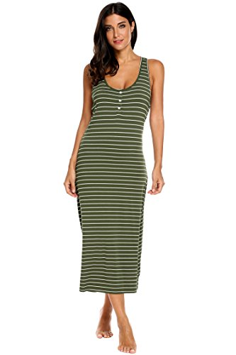 Ekouaer Womens Striped Nightgown Summer Sleeveless Tank Maxi Sleepwear Dress Green Large