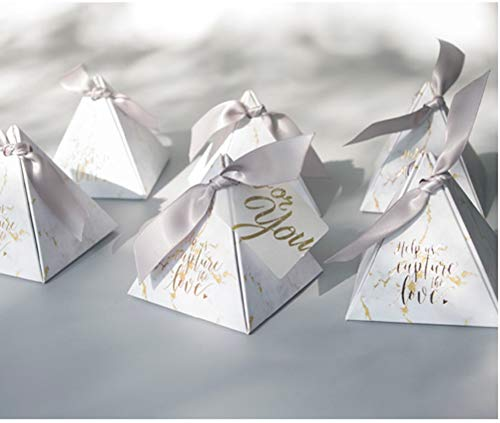 KHLSHOP 50pcs/lot Triangular Pyramid Gift Box Wedding Favors Gifts Candy Box Wedding Gifts Guests Wedding Decoration