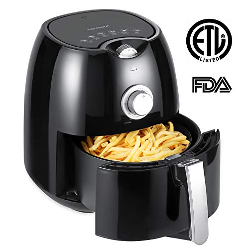 Air Fryer, HAMSWAN YD-AF09 Oil-Free Air Fryer, 1350W, Hot Air Circulation System, Manual Timer & Temperature Control, Non-Stick Pan, 2.7Quart Detachable Dishwashable Basket, with Cook Book