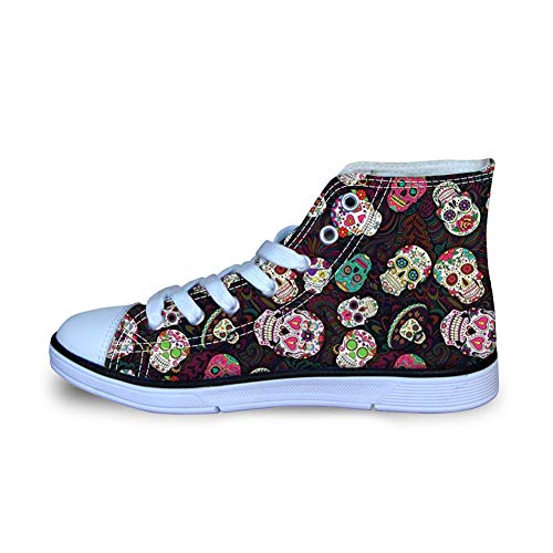 Coloranimal Trendy Sugar Skulls Pattern Child Kids High Top Canvas Sneaker Gym Sports Well-Ventilated Sprint Flats Air Cushion Lightweight Trainers Tennis Shoes