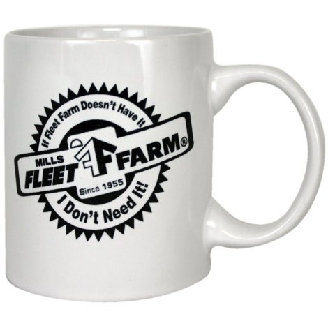 Mills Fleet Farm White Coffee Mug With Black Logo