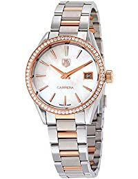 Carrera Mother of Pearl Dial Diamond Bezel Steel and 18kt Rose Gold Ladies Watch WAR1353. TAG Heuer