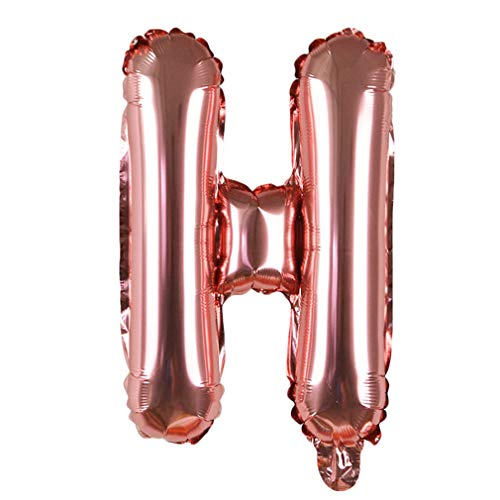 (1 Piece 16'' Rose Gold Letter Balloons Alphabet Foil Balloon for Baby Kids Birthday Party Decorations Wedding Party Decor Supply H )