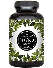 Vitamin D3 + K2 Tabletten - 180 Stück - Hochdosiert mit 5.000 IE Vitamin D3 und 200 µg Vitamin K2 pro EINER Tablette - Premium: All-Trans MK-7 aus Natto >99% - Hergestellt in Deutschland