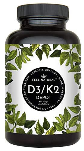 Vitamin D3 + K2 Tabletten - 180 Stück - Hochdosiert mit 5000 I.E. Vitamin D3 und 200 µg Vitamin K2 pro EINER Tablette - Premium: All-Trans MK-7 aus Natto >99% - Hergestellt in Deutschland