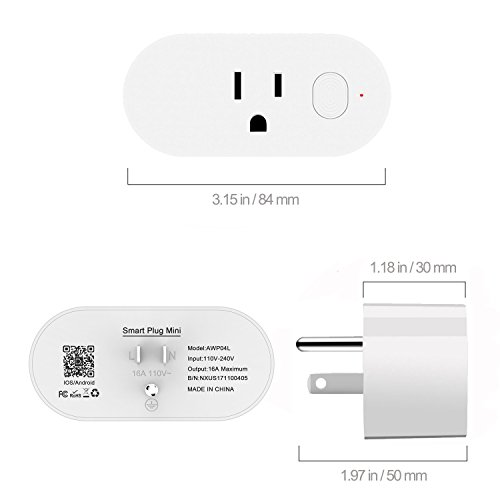 Wifi Smart Plug,Loneyshow Mini Smart Socket Work with Alexa/Echo dot Voice Control Timing Function Energy Monitoring No Hub Required Control Your Home from Anywhere for iOS Android Tablets(2 pack) by Loneyshow (Image #6)