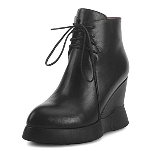 4c59c9a9bb2 IDIFU Women s Sexy High Wedge Heels Platform Lace Up Short Boots Ankle High  Booties good