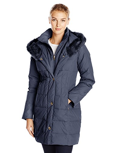 Larry Levine Women's Hooded 3/4 Length Down Filled Coat, Midnight, Medium