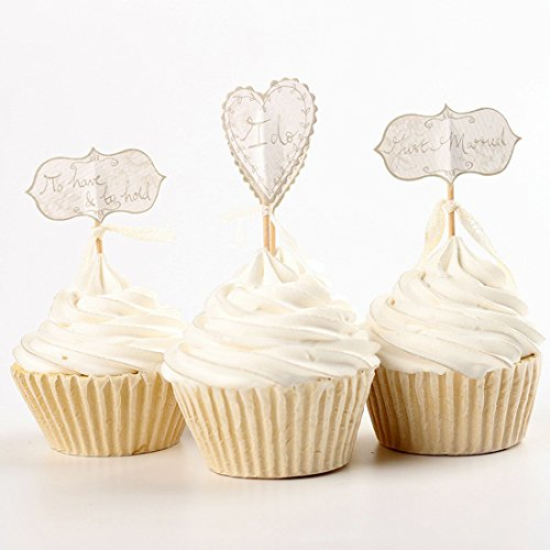 ZJCilected Wedding Party Cupcake Topper Picks I Do Just Married Love To Have To Hold Cupcake Top Decoration Baking Suppies-24 Packs