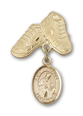 Religious Obsession Gold Filled Baby Badge with St. Ambrose Charm and Baby Boots Pin by Religious Obsession