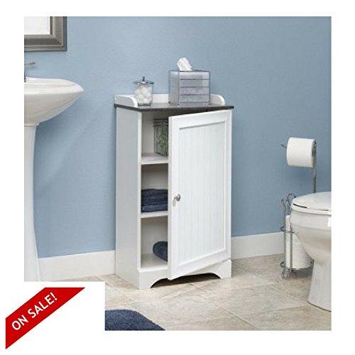 Bath Standing Cabinet White Wood Utility Storage Organizer Bathroom Floor Cart & eBook By Easy&FunDeals