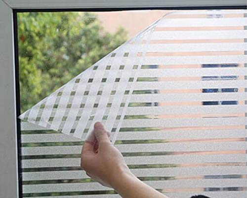"RoyalWallSkins Static Cling Stripes Privacy No-Glue Window Film Glass Covering Film for All Kinds of Smooth Glass Surface 17.7""x 78.7"""