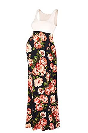 Beachcoco Women's Maternity Sleeveless Maxi Empire Waist Flower Printed Tank Dress (S, Black / Coral flower)