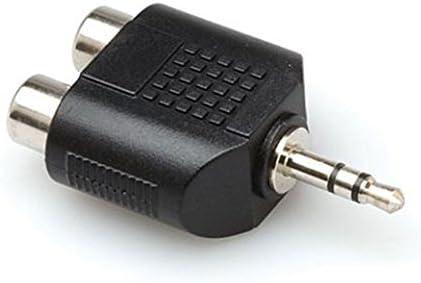 Hosa GRM193 - Adaptador RCA mini jack TSR (3.5 mm, adaptador, estéreo, dual, macho/hembra), color negro