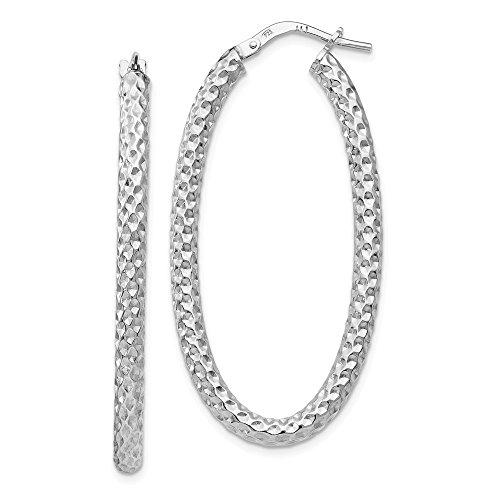 3mm Textured Oval Hoop Earrings in Sterling Silver, 42mm (1 5/8 in)