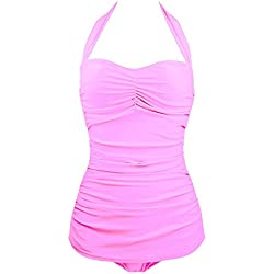 Echo Paths 50s Vintage Solid Classic One Piece Swimsuit Pin Up Monokinis for Women Pink S (US:00-0)