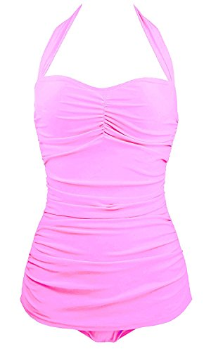 Century Star Women's Halter Ruched One Piece Swimsuit Swimwear Bikini Set Bathing Suit lovely Pink XS(Tag Size - Girls Hippie Naked