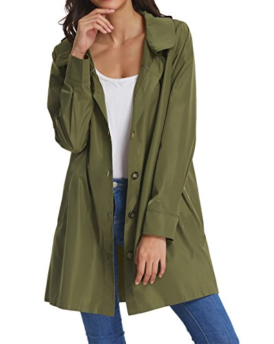 Womens Raincoat Lightweight Hooded Packable Waterproof Rain Jacket KK822-3 L Army Green]()