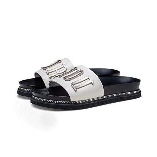 Zapatillas de cuero hebilla lateral/Zapatillas de verano de moda C
