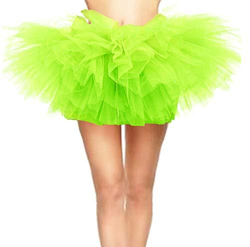 CahcyElilk Women's Vintage 5 Layered Halloween Tutu Puffy Ballet Bubble Skirt Lemon Bright Lime Green Plus ()