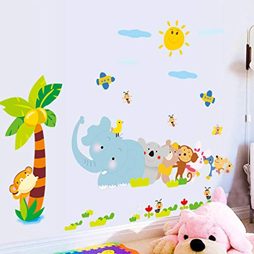 Sorthia Kids Peel & Stick Animal Wall Stickers Cartoon Elephant Monkey Coconut Palm Tree Wall Murals DIY Posters Vinyl Removable Art Wall Decals for Kids Girls Room Decoration