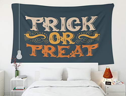 Shorping 60x50Inches Home Art of Cotton Tapestries Hanging Wall Tapestry,for Décor Living Room Dorm Halloween Quote Typographical Background Made in Style Trick Treat Template Card Banner Poster