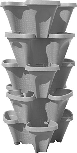Large 64 Quart Stackable Planter 5-Pack – Grow More in Less Space – Plant Pots and Stack – DIY Vertical Gardening System…