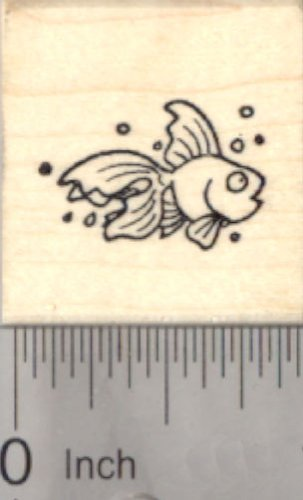 Tiny Goldfish Rubber Stamp, Fish