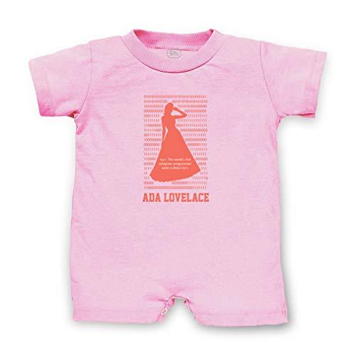 - Ada Lovelace - The World's First Computer Programmer Wore A Dress Short Sleeve Taped Neck Boys-Girls Cotton Infant Romper - Soft Pink, 12 Months