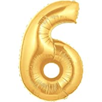 """40 """"globo dorado metalizado número 6"""