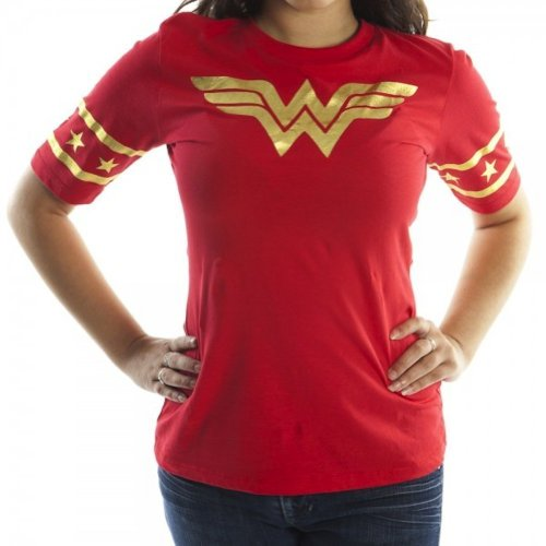 (Bioworld Wonder Woman Gold Foil Striped Sleeves Red Juniors T-shirt Tee (Juniors Large))