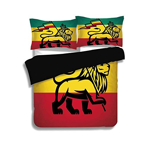 SINOVAL Black Duvet Cover Set Queen Size,Rasta,Judah Lion with a Rastafari Flag King Jungle Reggae Theme Art Print Decorative,Black Green Yellow and Red,Fashion 3 Pcs Bedding Set by 2 Pillow Shams
