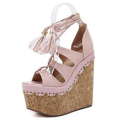 LvYuan Mujer-Tacón Cuña-Zapatos del club-Sandalias-Vestido-PU-Negro Rosa Almendra Pink