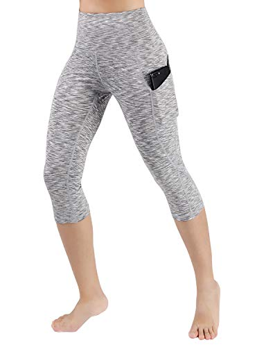 (ODODOS High Waist Out Pocket Yoga Capris Pants Tummy Control Workout Running 4 Way Stretch Yoga Capris)