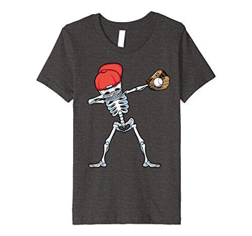 Soccer Mom Halloween Costumes (Kids Dabbing Baseball Skeleton T Shirt Funny Halloween Dab Gifts 12 Dark Heather)