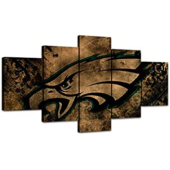 MIAUEN Canvas Art Philadelphia Eagles Wall Decor Framed Artwork Pictures 5 Panel Poster Paintings for Living Room Bedroom Home Decorations Ready to Hang(60''Wx32''H)