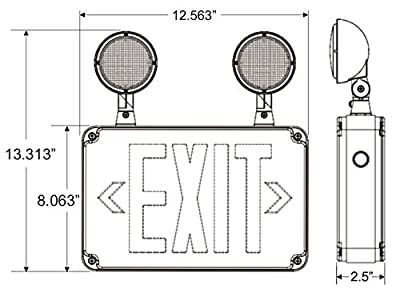 Compact Wet Location Exit Sign Combo with Green Letters