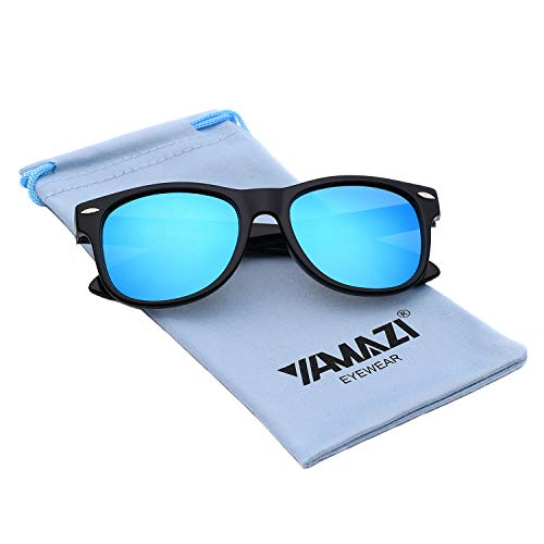 YAMAZI Kids Polarized Sunglasses Sports Fashion For Boys And Girls Mirrored Lens (Black | I-Blue Mirrored ()