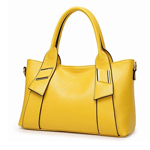 Pour Main Sacs Porte documents Ovesuxle Cuir Yellow Femmes Red En color À AOnqw1