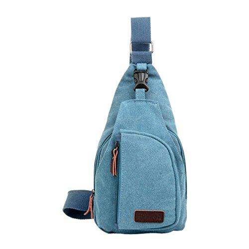 Secret paradise Hombre Satchel de lona pequeña bolsa de hombro Messenger Bag Viaje Mochila de senderismo, color azul