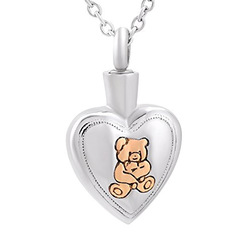 Teddy Bear On Heart Charm Pendant Necklace Stainless Steel Memorial Jewelry Urn Ashes Keepsake Jewelry (Silver and Gold)