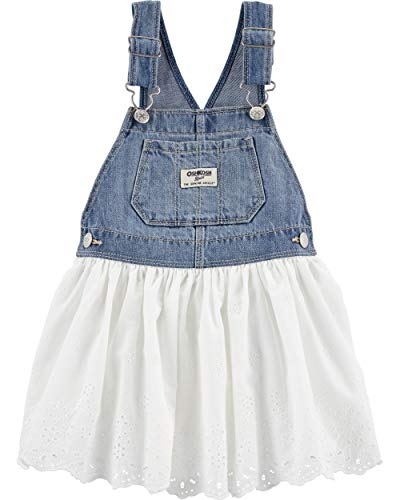 OshKosh B'Gosh Baby Girls World's Best Overalls, White Eyelet Jumper, 12 Months