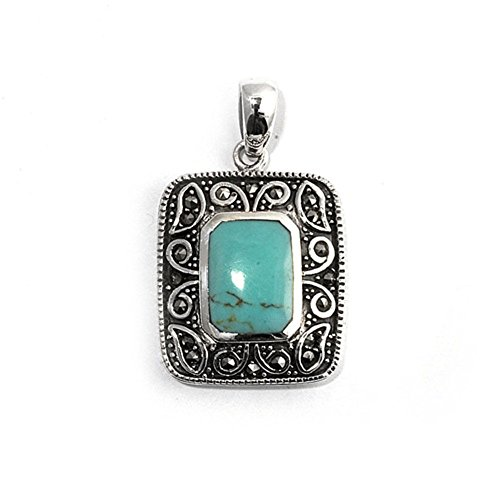 (Pendant Simulated Turquoise Simulated Marcasite .925 Sterling Silver Charm - Silver Jewelry Accessories Key Chain Bracelet Necklace Pendants)